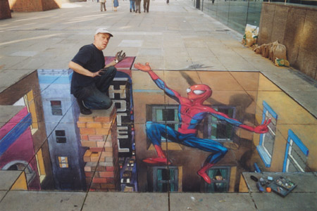 Spiderman to the Rescue by Julian Beever