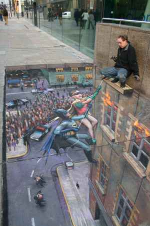 Batman and Robin to the Rescue by Julian Beever