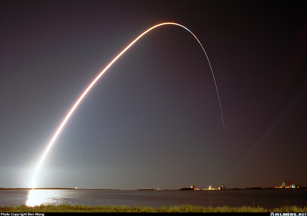 long exposure shuttle lifting off at night