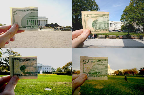 Photos Lining Up U.S. Currency with Buildings Depicted on Them